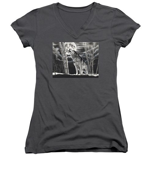 Howling At The Moon Women's V-Neck (Athletic Fit)