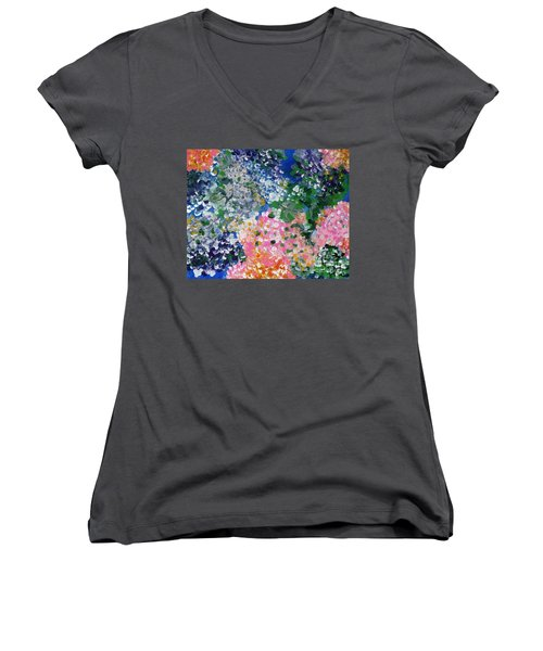 Women's V-Neck T-Shirt (Junior Cut) featuring the painting Hydrangeas I by Alys Caviness-Gober