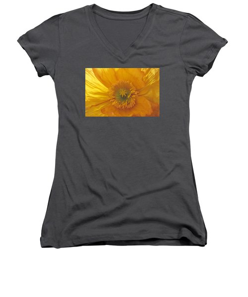 Women's V-Neck T-Shirt (Junior Cut) featuring the photograph Iceland Poppy 4 by Susan Rovira