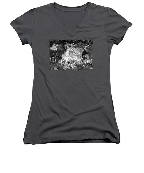 Women's V-Neck T-Shirt (Junior Cut) featuring the photograph Icy Road by Chalet Roome-Rigdon