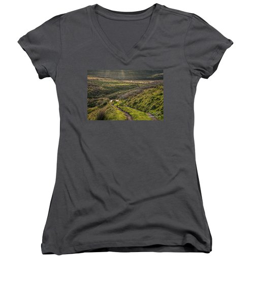 Icy Track Women's V-Neck T-Shirt (Junior Cut) by Clare Bambers