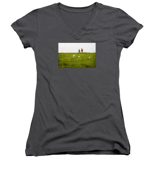 Women's V-Neck T-Shirt (Junior Cut) featuring the photograph In The Mist by Milena Ilieva
