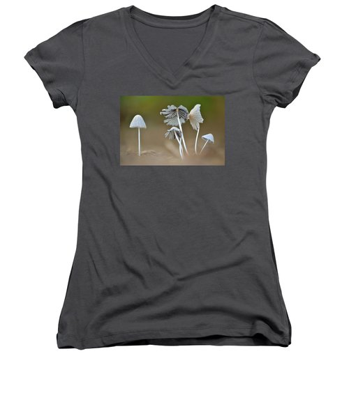 Women's V-Neck T-Shirt (Junior Cut) featuring the photograph Ink-cap Mushrooms by JD Grimes