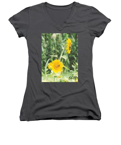 Insect On Sunflowers Women's V-Neck T-Shirt