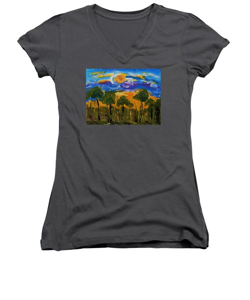 Intense Sky And Landscape Women's V-Neck (Athletic Fit)
