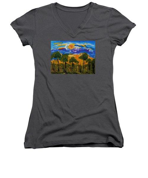 Intense Sky And Landscape Women's V-Neck T-Shirt