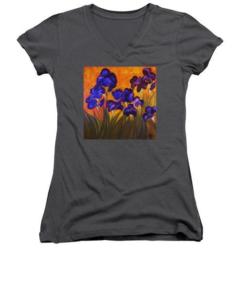 Irises In Motion Women's V-Neck T-Shirt