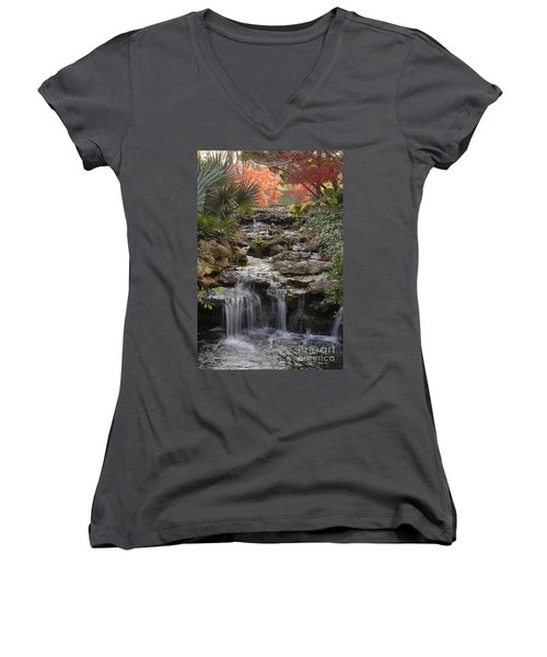 Waterfall In The Japanese Gardens, Ft. Worth, Texas Women's V-Neck T-Shirt