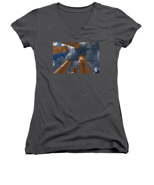 Women's V-Neck T-Shirt (Junior Cut) featuring the photograph Jerash by David Gleeson