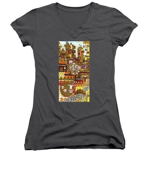 Jerusalem Alleys Tall 5  In Red Yellow Brown Orange Green And White Abstract Skyline Landscape   Women's V-Neck T-Shirt