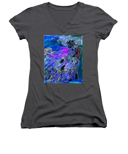Women's V-Neck T-Shirt (Junior Cut) featuring the painting Jesus Reaps His Harvest by Gloria Ssali