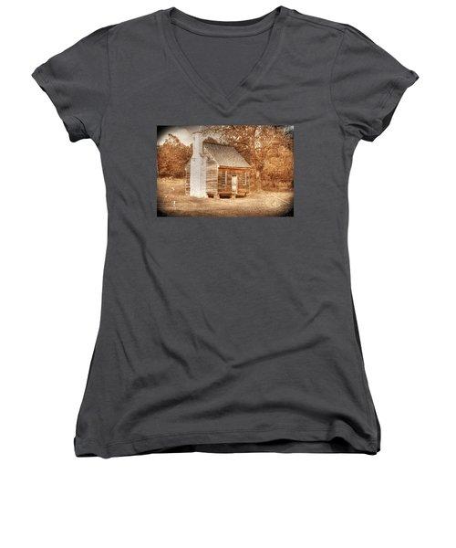 Joel Sweeney Cabin Women's V-Neck T-Shirt (Junior Cut) by Dan Stone