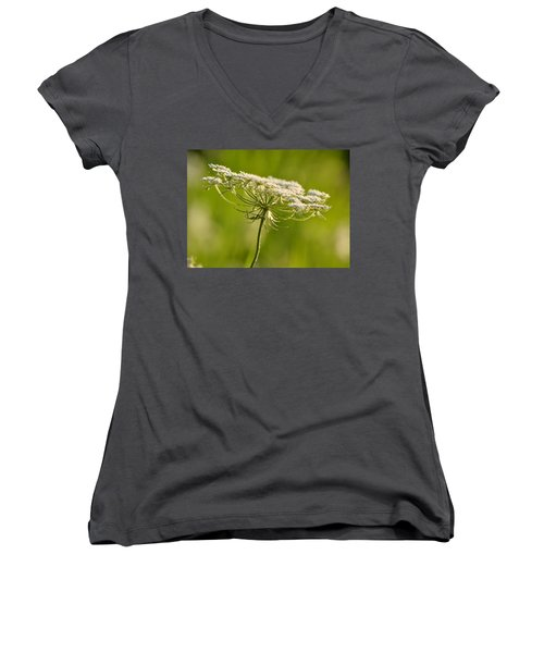 Lacy White Flower Women's V-Neck T-Shirt (Junior Cut)
