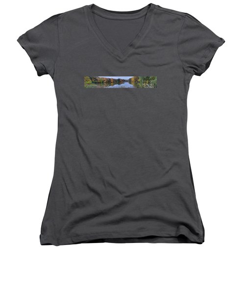 Women's V-Neck T-Shirt (Junior Cut) featuring the photograph Lake Eastman by William Norton