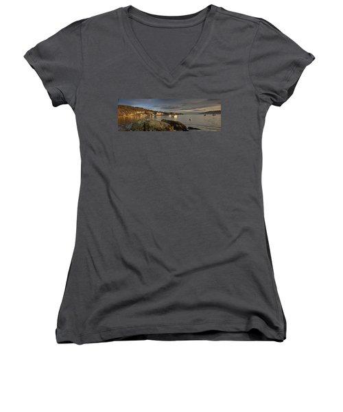 Women's V-Neck T-Shirt (Junior Cut) featuring the photograph Lake Windermere Ambleside, Cumbria by John Short