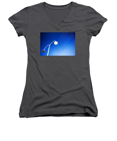Lamp Post And Cables Women's V-Neck T-Shirt (Junior Cut) by Yew Kwang