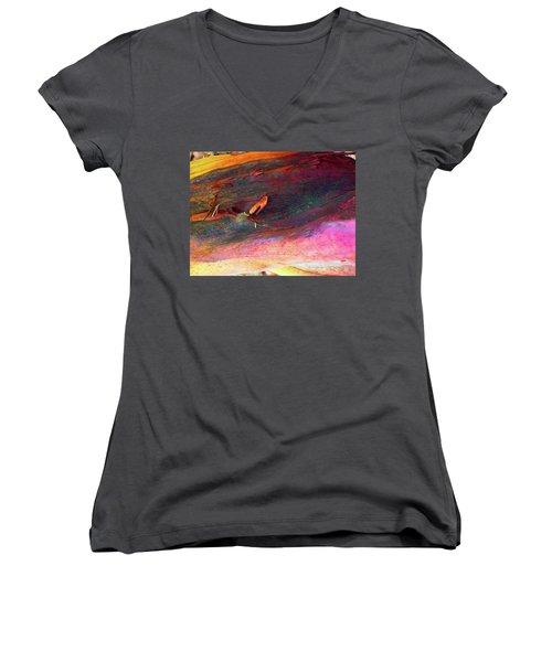 Women's V-Neck T-Shirt (Junior Cut) featuring the digital art Landing by Richard Laeton