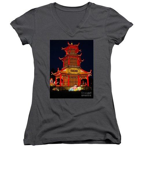 Lantern Lights Women's V-Neck T-Shirt (Junior Cut) by Vivian Christopher