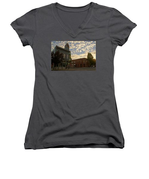 Late Afternoon At The Corner Of 5th And G Women's V-Neck T-Shirt