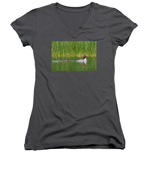 Women's V-Neck T-Shirt (Junior Cut) featuring the photograph Lazy Swim by Brent L Ander