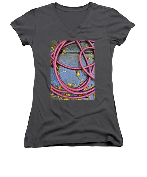Leaves And Hose Women's V-Neck T-Shirt (Junior Cut) by Bill Owen