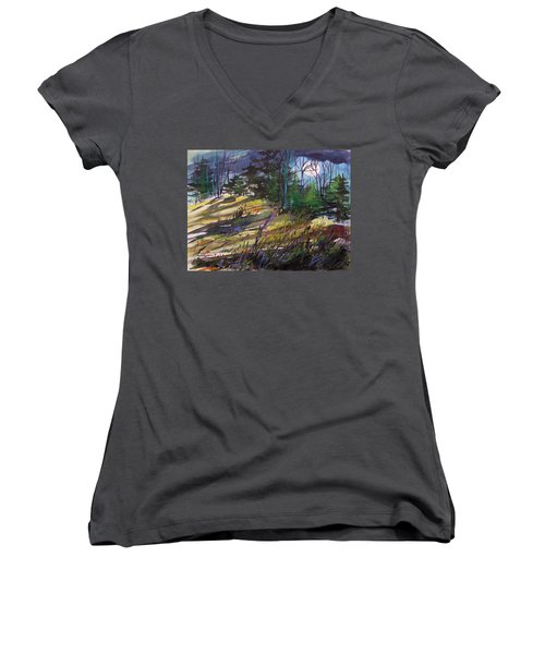 Women's V-Neck T-Shirt (Junior Cut) featuring the painting Light Against Indigo by John Williams
