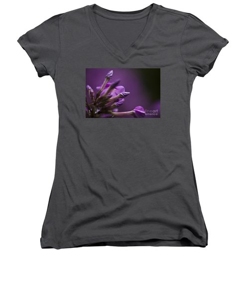 Women's V-Neck T-Shirt (Junior Cut) featuring the photograph Lilac Spirals. by Clare Bambers