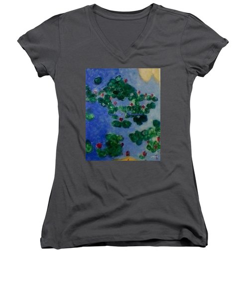 Women's V-Neck T-Shirt (Junior Cut) featuring the painting Lily Pond by Sonali Gangane