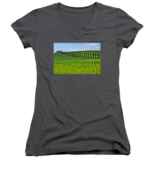 Lined Up Women's V-Neck (Athletic Fit)
