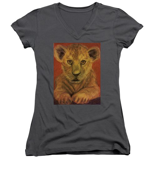 Women's V-Neck T-Shirt (Junior Cut) featuring the pastel Lion Cub by Christy Saunders Church