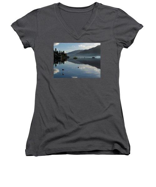 Women's V-Neck T-Shirt (Junior Cut) featuring the photograph Lochgoilhead by Lynn Bolt