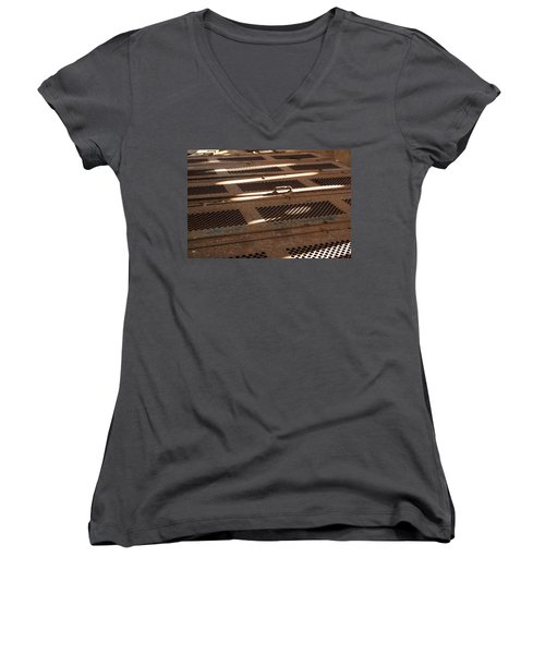 Women's V-Neck T-Shirt (Junior Cut) featuring the photograph Lock Of Time by Fran Riley