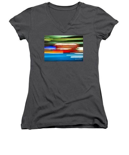 Women's V-Neck T-Shirt (Junior Cut) featuring the photograph London Bus Motion by Luciano Mortula