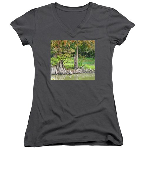 Women's V-Neck T-Shirt (Junior Cut) featuring the photograph Louisiana Cypress by Lizi Beard-Ward