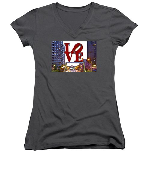 Women's V-Neck T-Shirt (Junior Cut) featuring the photograph Love In Philadelphia by Alice Gipson