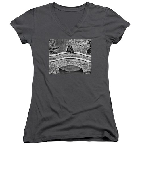 Lovers On A Bridge  Women's V-Neck (Athletic Fit)