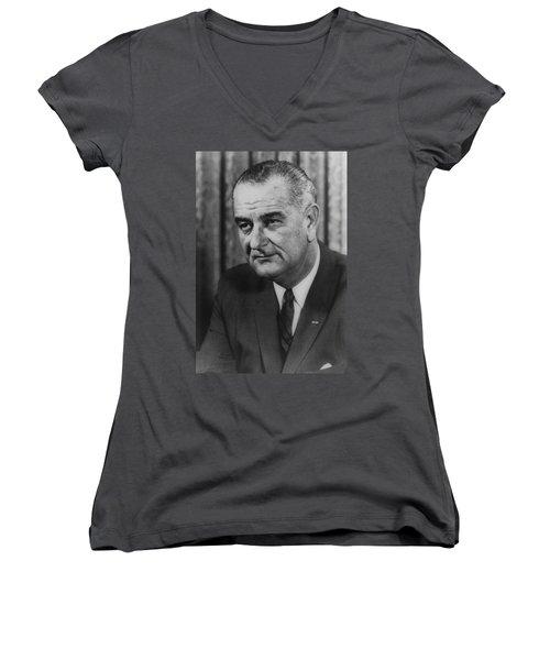 Women's V-Neck T-Shirt (Junior Cut) featuring the photograph Lyndon B Johnson by International  Images