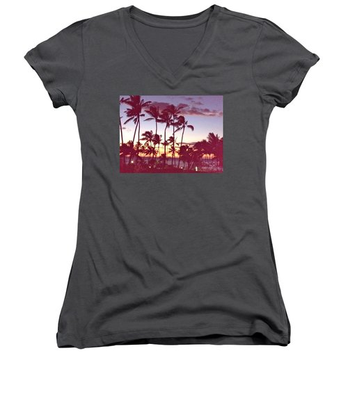 Mahalo For This Day Women's V-Neck T-Shirt (Junior Cut) by Beth Saffer