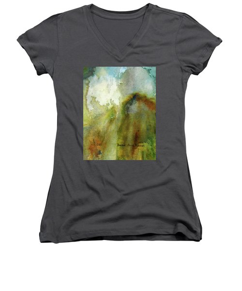 Women's V-Neck T-Shirt (Junior Cut) featuring the painting Melting Mountain by Anna Ruzsan
