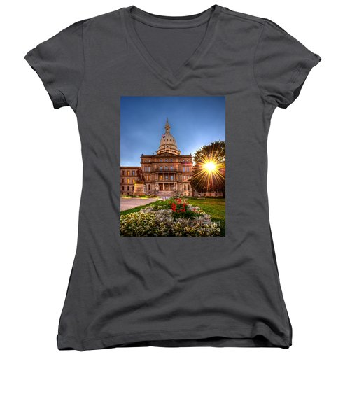 Women's V-Neck T-Shirt (Junior Cut) featuring the photograph Michigan Capitol - Hdr - 2 by Larry Carr