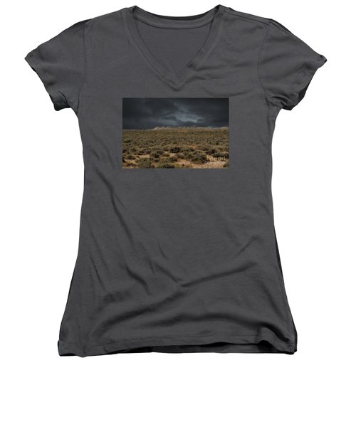 Midnight On The Pairie In Wyoming Women's V-Neck