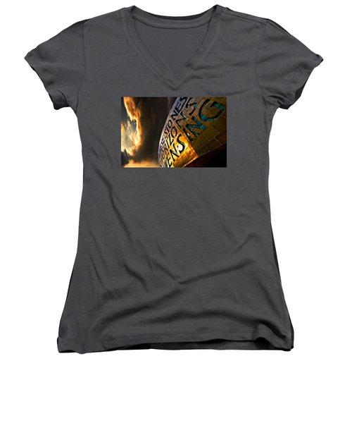 Millennium Drama Women's V-Neck T-Shirt (Junior Cut) by Meirion Matthias