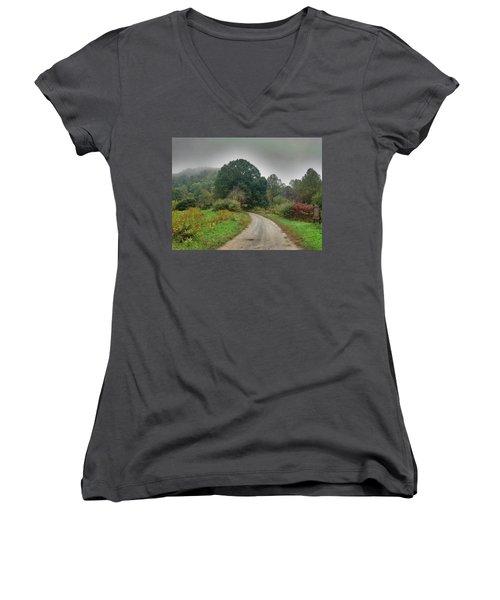 Women's V-Neck T-Shirt (Junior Cut) featuring the photograph Mills Ridge by Janice Spivey
