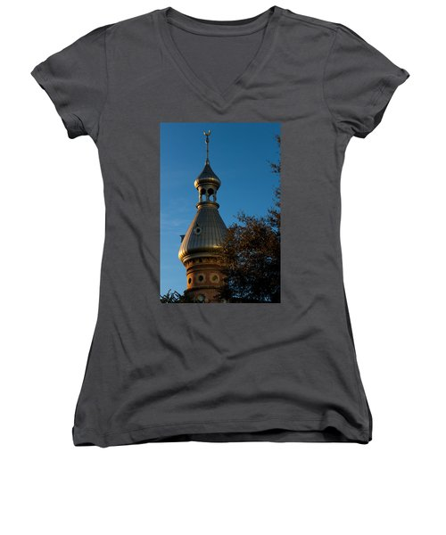 Women's V-Neck T-Shirt (Junior Cut) featuring the photograph Minaret And Trees by Ed Gleichman