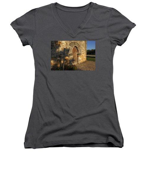 Women's V-Neck T-Shirt (Junior Cut) featuring the photograph Mission Espada by Susan Rovira