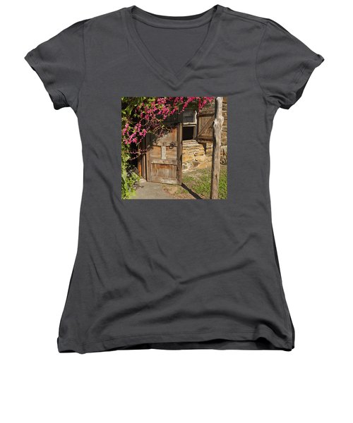 Women's V-Neck T-Shirt (Junior Cut) featuring the photograph Mission San Jose 3 by Susan Rovira