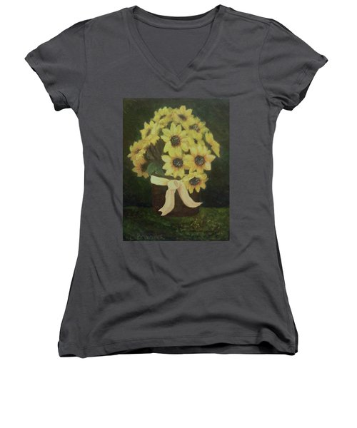 Women's V-Neck T-Shirt (Junior Cut) featuring the painting Mom's Bouquet by Christy Saunders Church