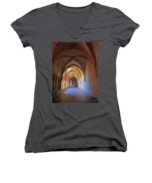 Women's V-Neck T-Shirt (Junior Cut) featuring the photograph Monastery Passageway by Dave Mills