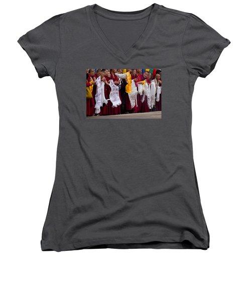 Women's V-Neck T-Shirt (Junior Cut) featuring the photograph Monks Wait For The Dalai Lama by Don Schwartz