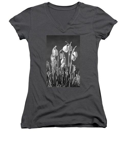 Women's V-Neck T-Shirt (Junior Cut) featuring the photograph Mono Snowdrops by Lynn Bolt